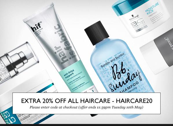 HAIRCARE20 - Save an EXTRA 20% off all Haircare