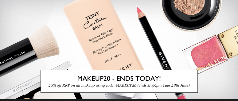 MAKEUP20 - Save 20% off RRP on ALL makeup - Ends Today